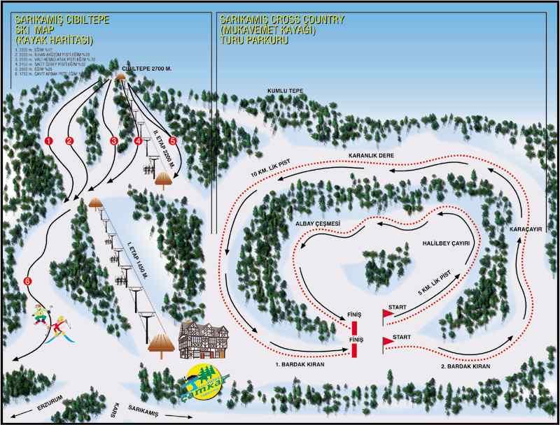 Трасса...  Стоимость проката комплекта горных лыж на курорте Сарыкамыш в день составляет около 20-25 долларов...