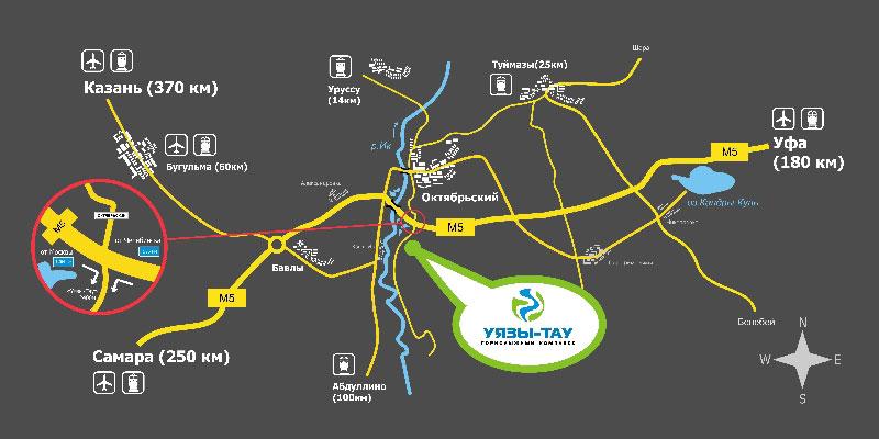 """Схема проезда из г. Уфа. u-tau.ru.  Все удобства для любителей активного отдыха предлагает комплекс  """"Уязы-Тау."""