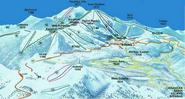 Карта трасс Копаоника