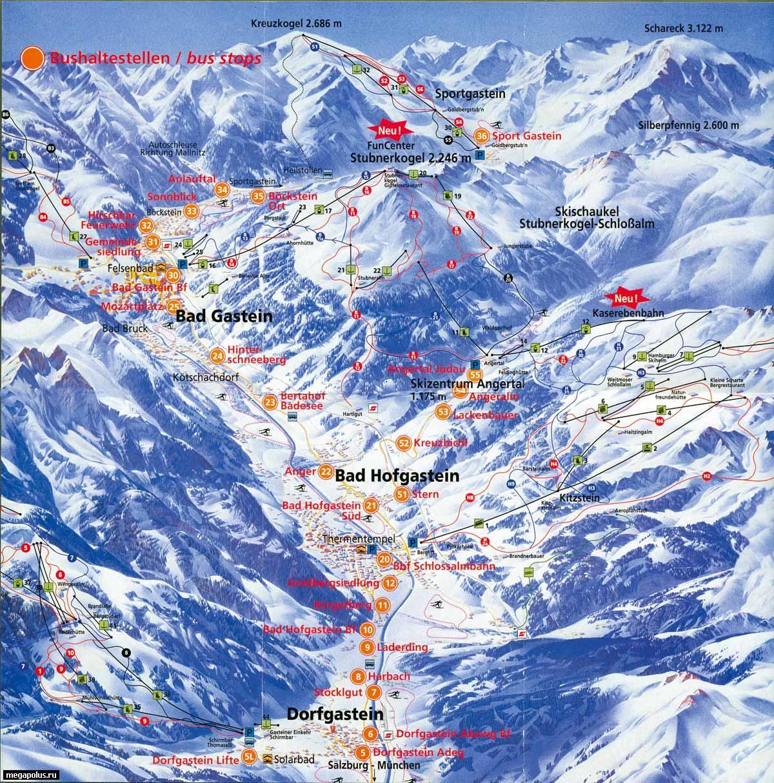 Схема региона катания.  Горнолыжные курорты Австрии.  Бад Гастайн (Bad Gastein).