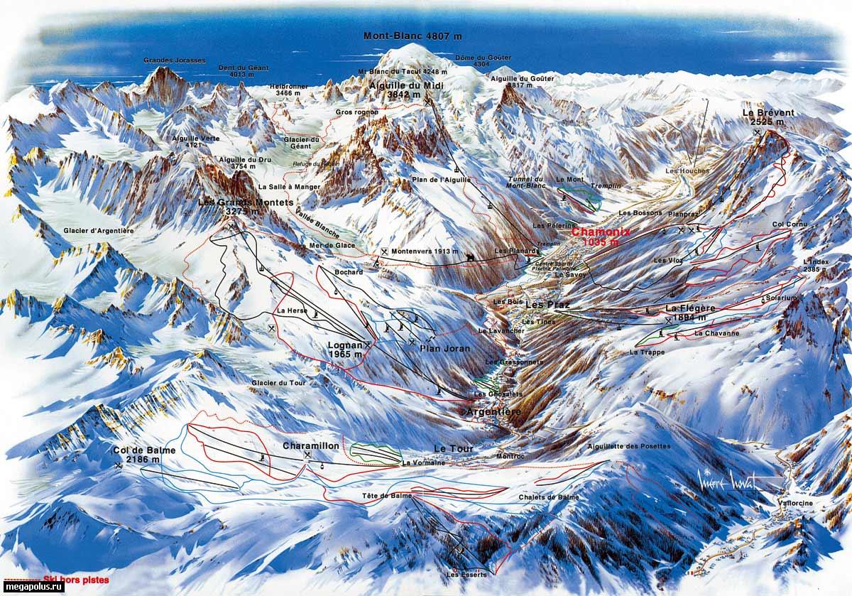 Mont blanc unlimited.  Взрослый 6 дней.  Трассы длиной более 5 км расходятся в трех направлениях: на запад...