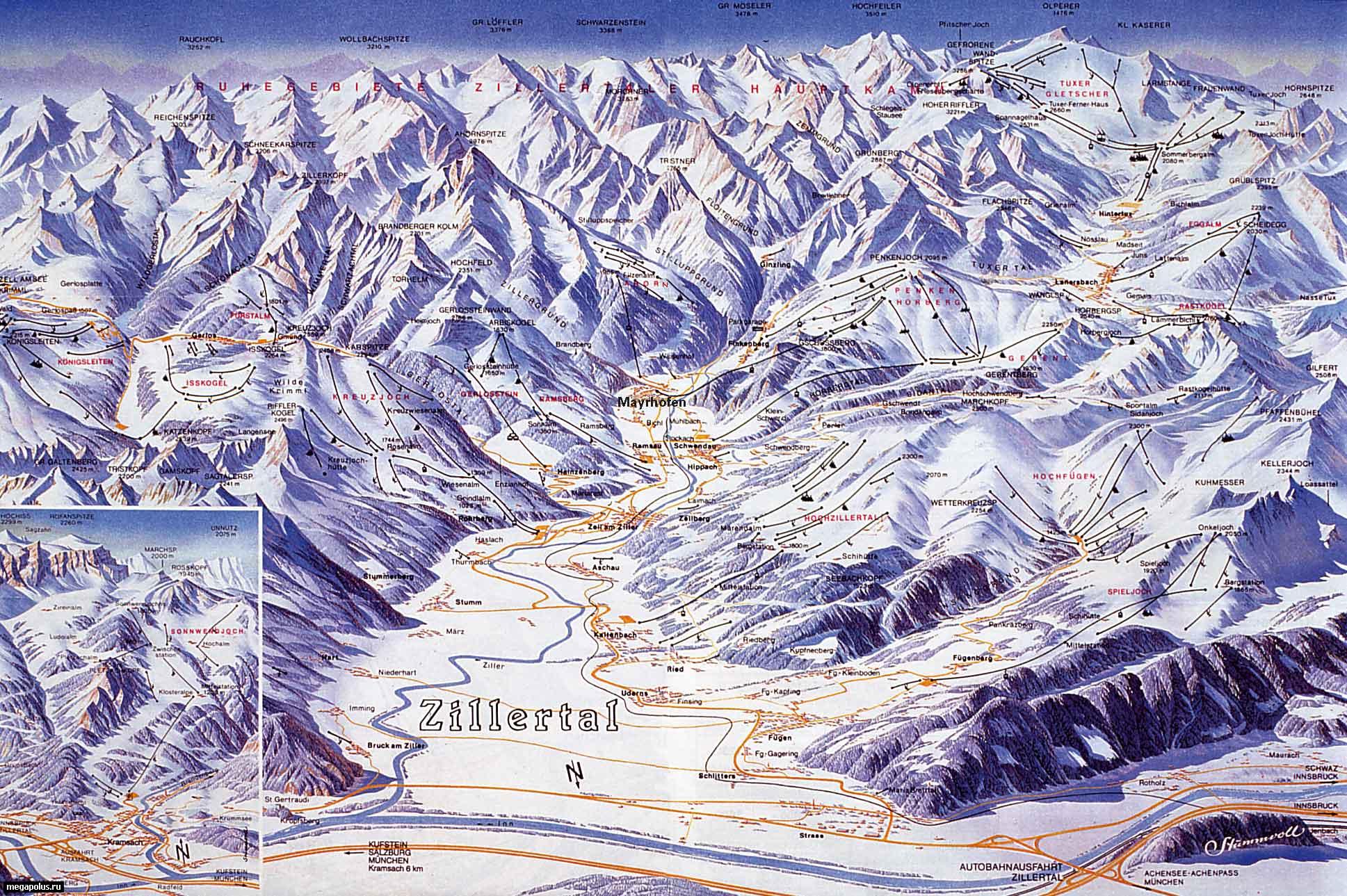 Схема региона катания долины Циллерталь.