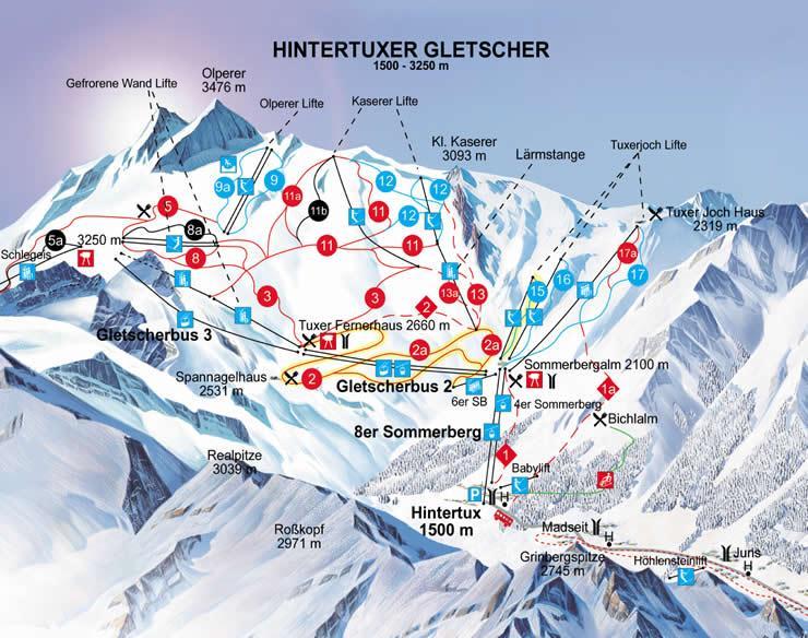 Карта трасс ледника