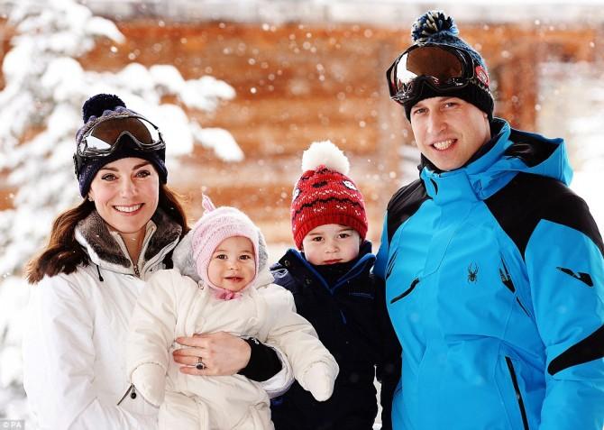 Герцог и герцогиня Кембриджские с детьми в Куршавеле