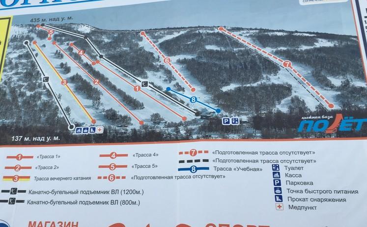 Схема трасс Русской горнолыжной школы, Магадан. 2018