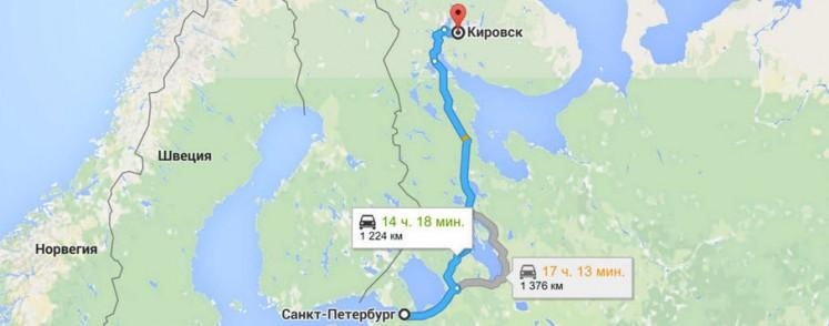 Маршрут из Санкт-Петербурга до Кировска на автомобиле