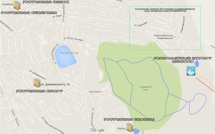 Карта расположения гостиниц в городе Кировск