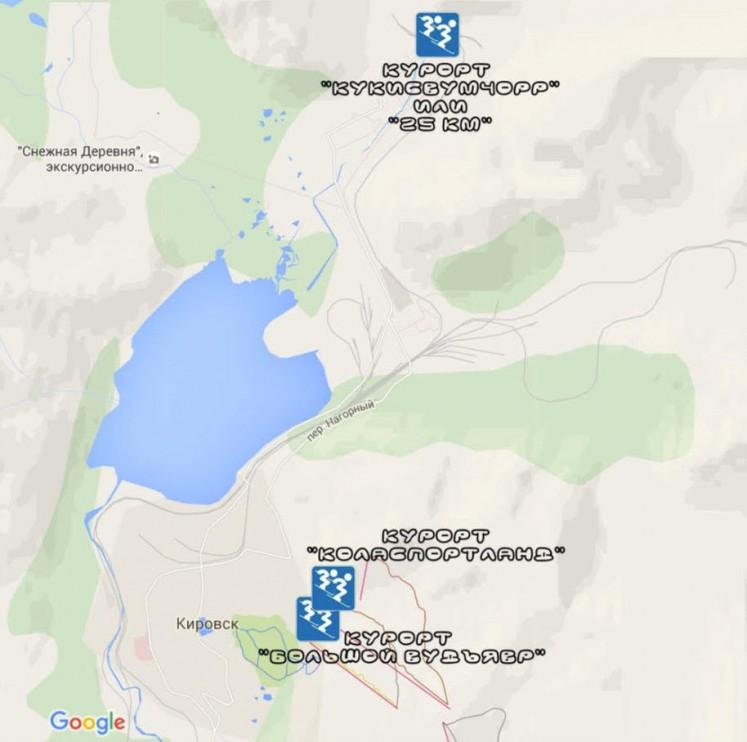 Карта расположения горнолыжных курортов в городе Кировск