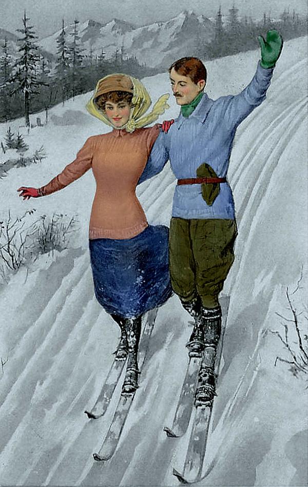 Лыжник открытка, надписями для свекрови