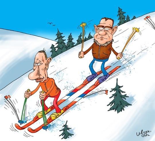 Сошла ума, смешные картинки двое на лыжах