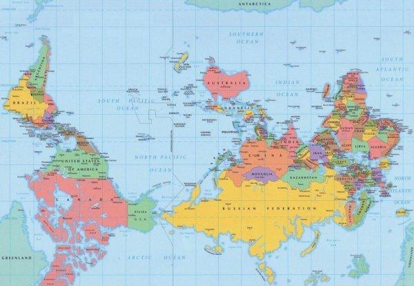 Карта мира. Вид из Австралии.