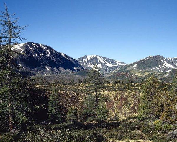 Кратер вулкана Перетолчина. На заднем плане вулкан Кропоткина.